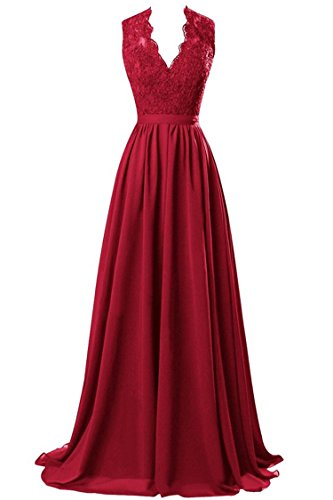 R&J Women's V-neck Open Back Lace Chiffon Floor Length Formal Evening Party Dress Burgundy Size 10