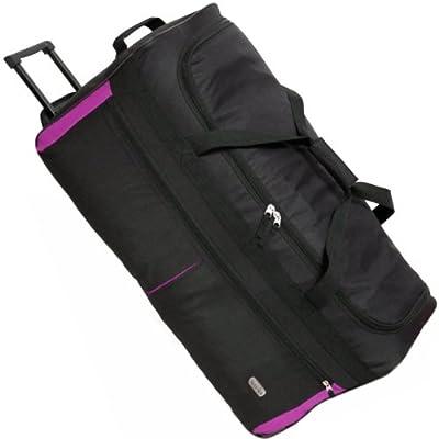 Karabar Extra Large 34 Inch Wheeled Holdall - 3 Years Warranty! (Black/Pink & Matching Flight Bag)