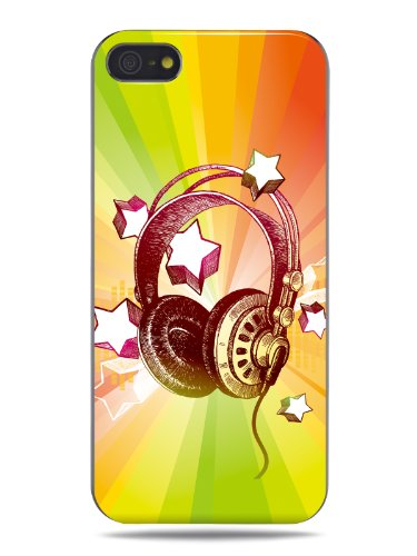 "Grüv Premium Case - ""Colorful Music Dj Headphones & Stars"" Design - Best Quality Designer Print On Black Hard Cover - For Apple Iphone 5 5G 5S"