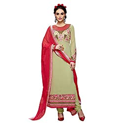 Look N Buy women's Trendy Beige Coloured Embroidered Unstitched Georgette Dress Material With Dupatta