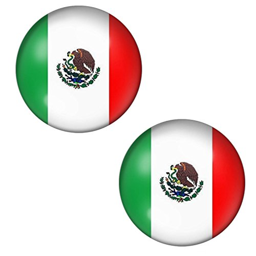 LilMents Country Flag World Cup Unisex Stainless Steel Stud Earrings (Mexico)