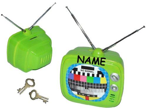 Sparschwein Fernseher / TV grün - mit Namen - aus Porzellan / Keramik mit Schlüssel und ausziehbarer Antenne - stabile Sparbüchse für die Fernsehkasse Spardose Geld
