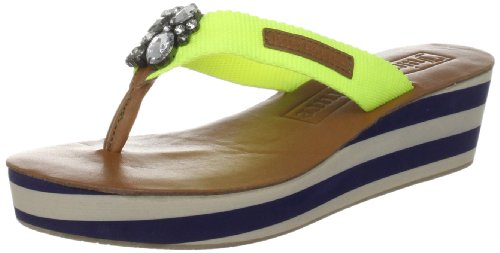 Juicy Couture Women's Indo Ultra Yellow Webbing Caramel Thong Sandals J382018 4 UK, 37 EU, 7 US