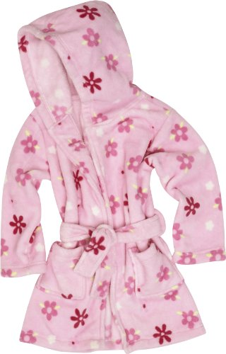 Playshoes 340150 - Accappatoio in pile con stampa floreale, bambina, Rosa (Rosa (900 original )), 74/80