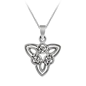 Sterling Silver Celtic Knot Triangle Pendant with Rolo Chain, 18""