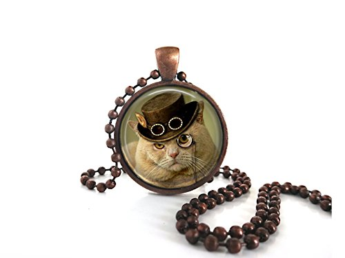Fancy-Cat-Sir-Thomas-Glass-Dome-Charm-in-Antique-Copper-with-Ball-Chain-Handmade-Jewelry-Art-Pendant