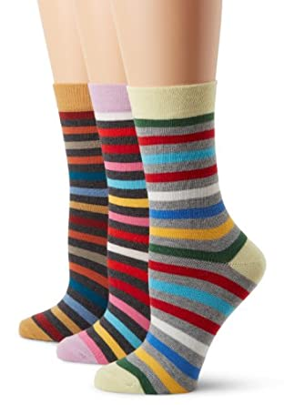 PACT Women's All Stripe Classics 3 Pack Crew Sock Gift Set, Multi Colored, One Size