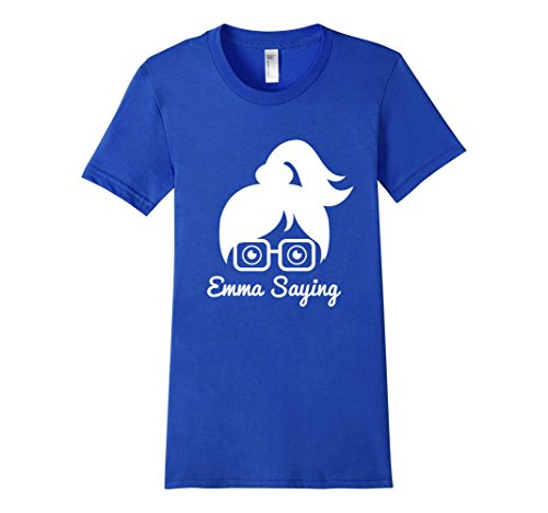 Womens-EmmaSaying-Fan-Club-Logo-T-Shirt-Nerdy-Girl-With-Glasses-Royal-Blue
