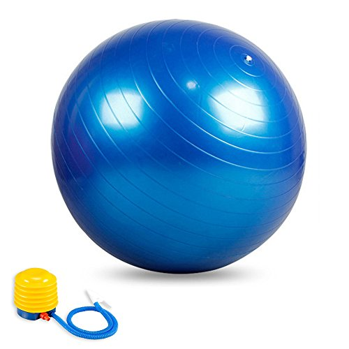 75cm Exercise Ball with Pump, GYM QUALITY Fitness Ball, Blue