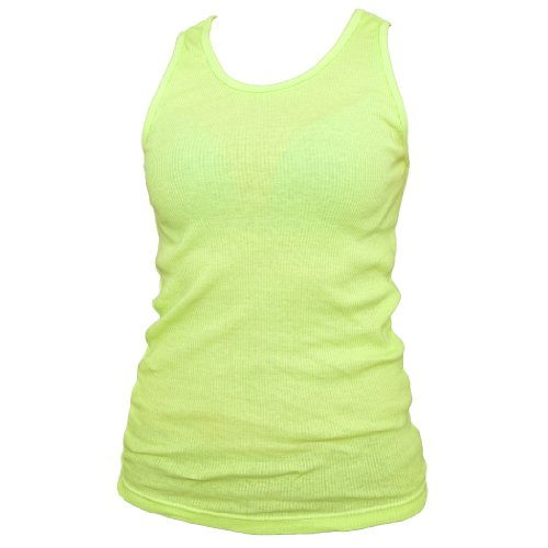 8d1d75c5a629ca Boxercraft Ribbed Cotton Tank Top Neon Yellow Great for casual dress or  exercise
