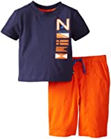 Nautica Baby Boys' Logo Tee Shirt and Solid Short 2 Piece Set
