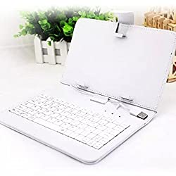 Magideal Universal USB Keyboard PU Leather Case Cover For 7/8 Inch Tablet White