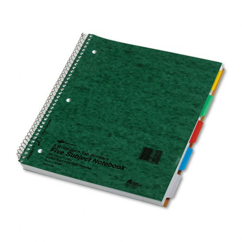 National Brand Products - National Brand - 5-Subject Wire Notebook, College Rule, 8-7/8 x 11, White, 200 Sheets - Sold As 1 Each - Reinforced write-on tabs help easily identify sections. - White perforated sheets. - Three-hole punched. - Pressboard covers. -