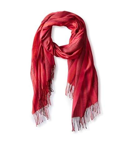 Alicia Adams Alpaca Women's Striped Silk Wrap, Red Ticking