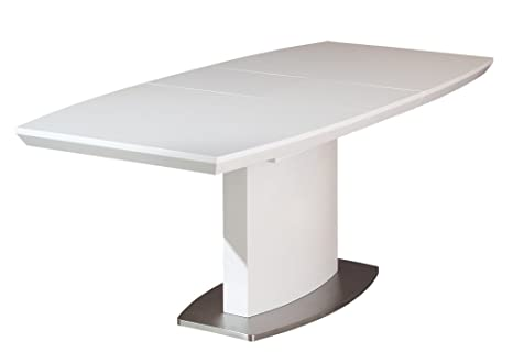 WinnipegEXTENDING TABLE. SIZE 160/200x90x76H. WHITE MATT POLISHED MDF + CHROMED METAL. ARTICLE IN KIT. WHITE LACQUERED MDF