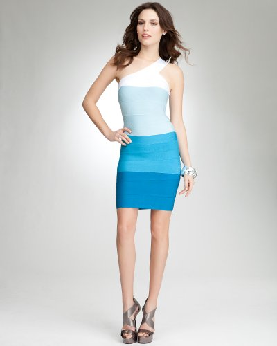 Bebe One Shoulder Ombre Bandage Dress BLUE COMBO (as smpl)
