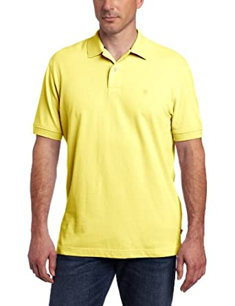IZOD Men's Short Sleeve Basic Heritage Pique Polo, Goldfinch, Small