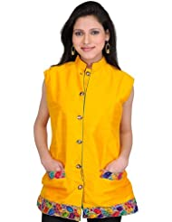Exotic India Saffron-Yellow Waistcoat With Embroidered Patch Border - Yellow