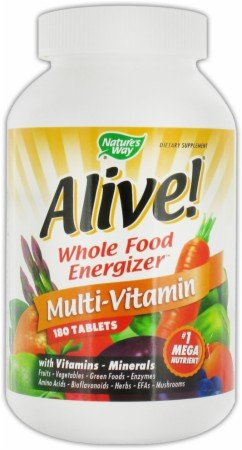Nature'S Way, Alive Whole Food Energizer, Multi-Vitamin With Iron 180 Tablets