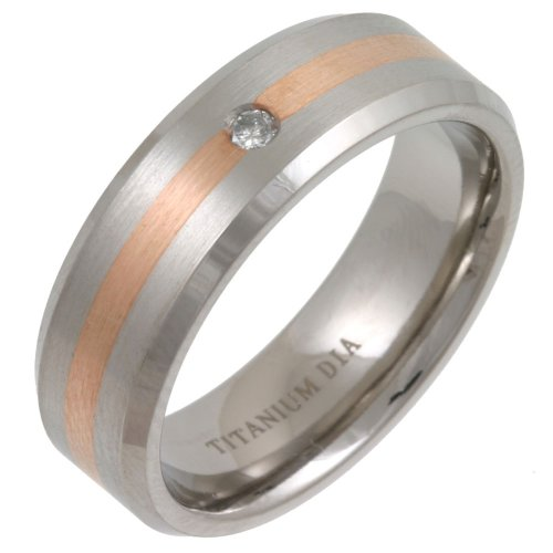 Gents' Titanium 7mm Matte 5pts Diamond set  &  Single Striped 9ct Rose Gold Inlay Ring - Size X