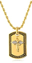 Goldtone Stainless Steel Sandblast Floating Angel Dog Tag Pendant with a 24 Inch Rope Chain