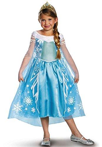 Mememall Fashion Princess Elsa Costume Dress Snow Queen Deluxe Frozen XS S M L (Tween Elsa Costume)