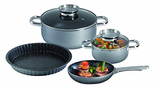 STONELINE® Premium Batterie de cuisine, 6pièces, avec plat à quiche et couvercles en verre, induction, acier inoxydable