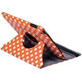 Himanjie New 360 degrees Smart Polka Dot Pu leather Cover Skin case With Stand for Apple ipad 2 3rd (Orange)