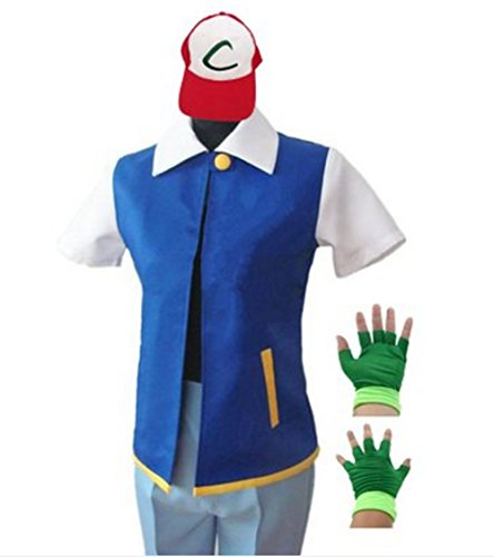Pokemon Ash Ketchum Cosplay Costume Set(Jacket+Gloves+Hat)