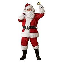 サンタクロース サンタ 衣装 コスプレ メンズ コスチューム 5点セット(ジャケット+ズボン+ベルト+帽子+ひげ)