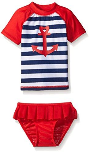 Sol Swim Baby Sailor Love Rashguard Set, Red, 6-9 Months
