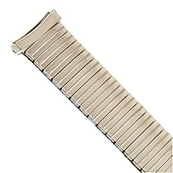Watch Band Expansion Metal Stretch Silver Color Curved Ends fits 16mm to 20mm