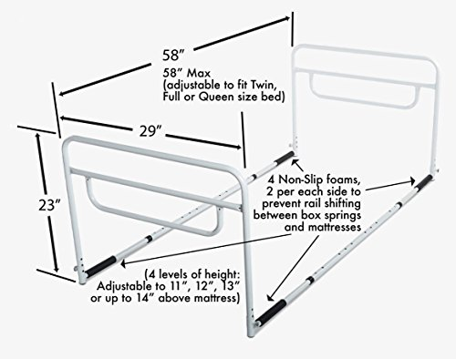 rms bed rail adjustable height bed assist rail bed side hand rail fits king queen full. Black Bedroom Furniture Sets. Home Design Ideas
