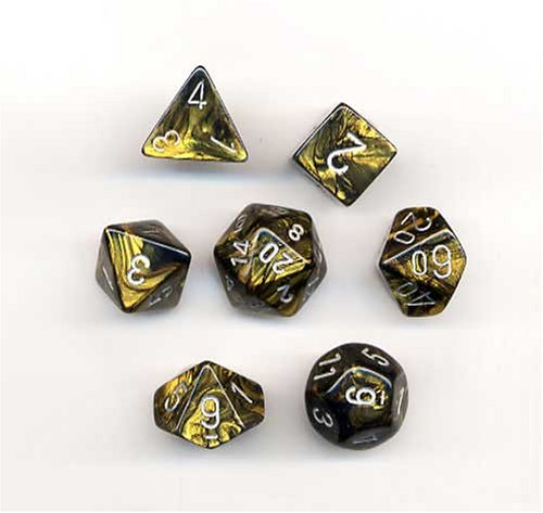 Great Features Of Chessex Dice: Polyhedral 7-Die Leaf Dice Set - Black Gold w/silver CHX-27418