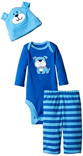 Gerber Baby-Boys Newborn 3 Piece Bodysuit Cap and Pant Set, Blue Dog, 12 Months