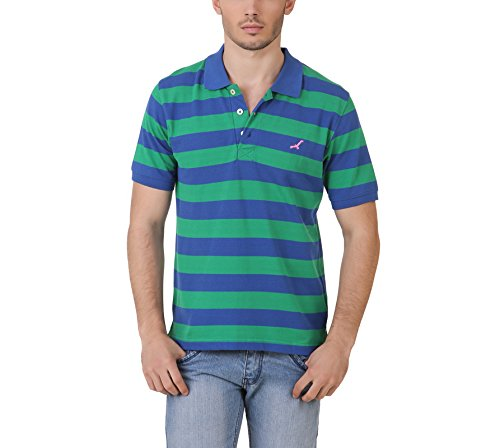 American-Crew-Mens-Polo-Stipres-T-Shirt-Green-Blue