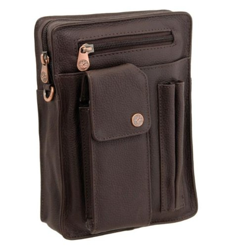 1642 Men's Leather Travel Organiser Bag 6513 with Shoulder and Wrist Straps Brown