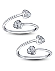 Vorra Fashion Solid Platinum Plated 925 Sterling Silver CZ Double Heart Toe Ring