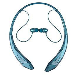 Bluetooth Headphones Headset Rymemo Diamond Surface Newest Design Wireless Music Earphones Stereo Earbuds Sports/running Magnetic Neckband Style for Cellphone, Blue