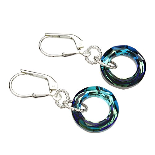 Bermuda Blue Swarovski Elements Crystal Round Ring Donut Sterling Silver Leverback Earrings (Bermuda Blue Crystal Ring compare prices)