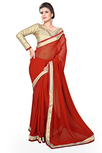 Sourbh Sarees Red Faux Georgette Lace Work Saree for Women Party Wear