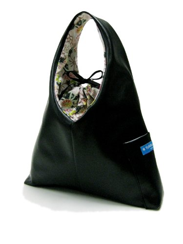 K1AL&D1 Leather look Zen Black 2011 version, KIKU Gardens Floral Japanese KIMONO print Lining of Katty TESAGE purses, comes with Purse Insert (drawstring organizer), P-Leather (Water-proof), Hobo Style