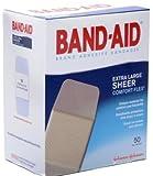 "Band-Aid Adhesive Bandages, Sheer Extra Large, 1 3/4"" X 4"", 50 Count"