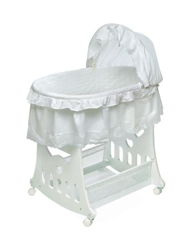 Badger Basket Company Portable Bassinet 'N Cradle with Toybox Base - White Batiste