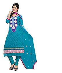 Avani Firozi Cotton Karachi Style Embroidery With Stone Work