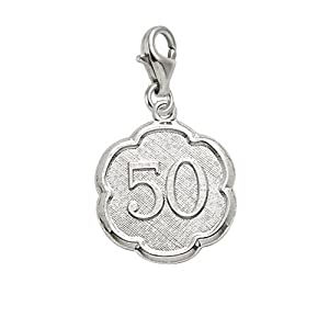 Rembrandt Charms Number 50 Charm with Lobster Clasp, Sterling Silver