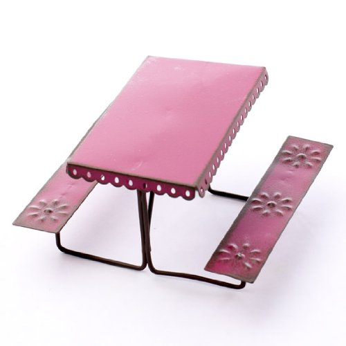 Miniature Metal Rustic Hot Pink Embossed Picnic Table Designed By Genevieve Gail
