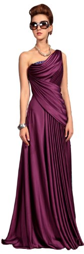 Doris Women Cheap Elegant One Shoulder Evening Formal Dresses Dark Purple Size Medium picture