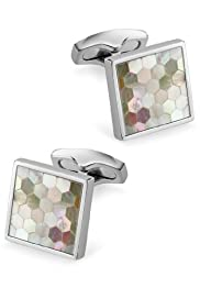 Mother of Pearl Checkerboard Cufflinks [T09-0955-S]