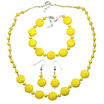 Yellow Glass Bead Necklace, Bracelet, and Earring Set